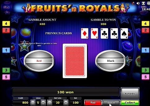 риск игра в слоте Fruits and Royals